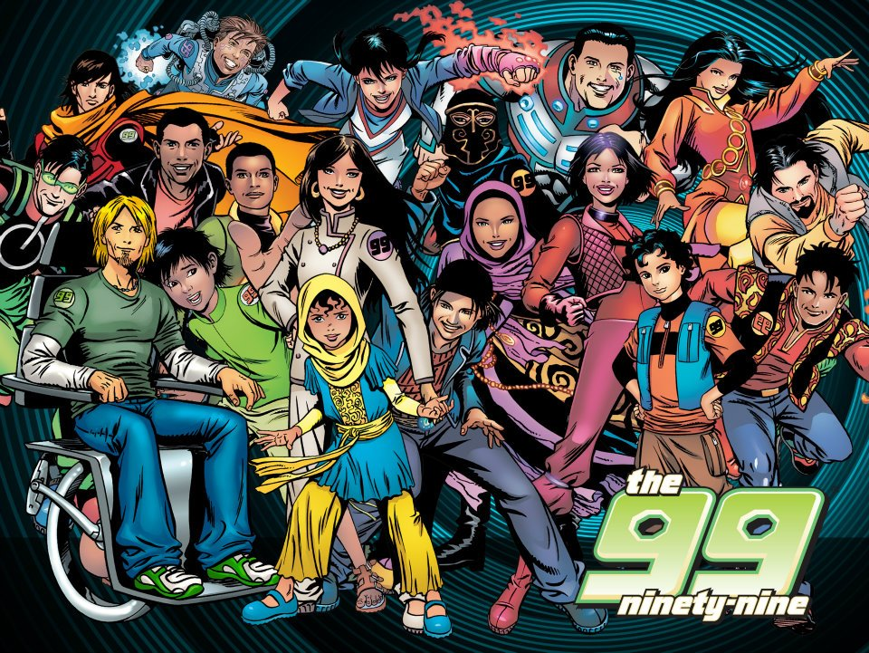 Un nutrido grupo de diversos superhéroes y superheroínas conforman The 99.