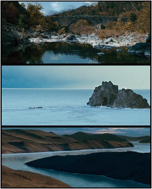 Tres fotogramas del filme donde vemos el pintoresquismo europeo (arriba), la estepa siberiana (centro) y el río Amur, en la frontera china (abajo).