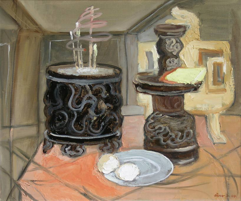 Naturaleza muerta con urnas de incienso (Still-life with incense urns, 2004).