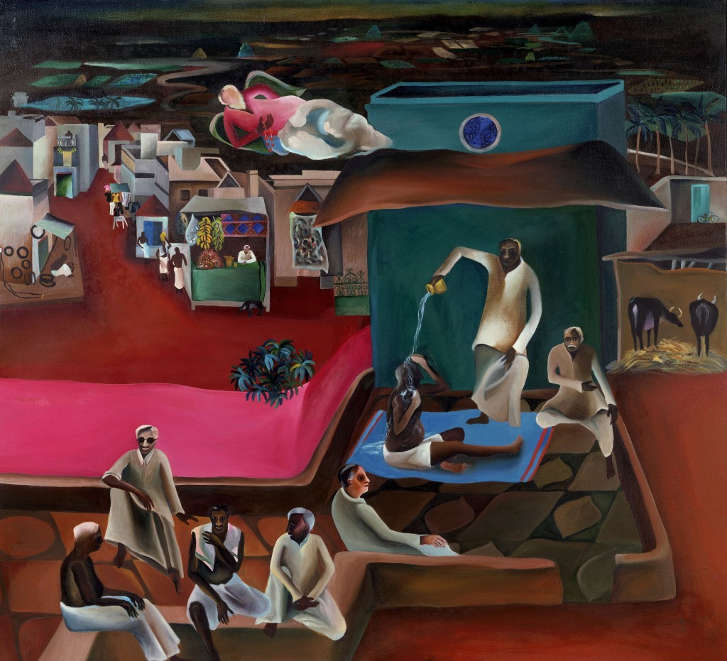 Death in the Family (Deceso en la familia), 1977, Óleo sobre lienzo,  Victoria and Albert Museum. © Estate of Bhupen Khakhar, reproducida con permiso de Tate Modern.