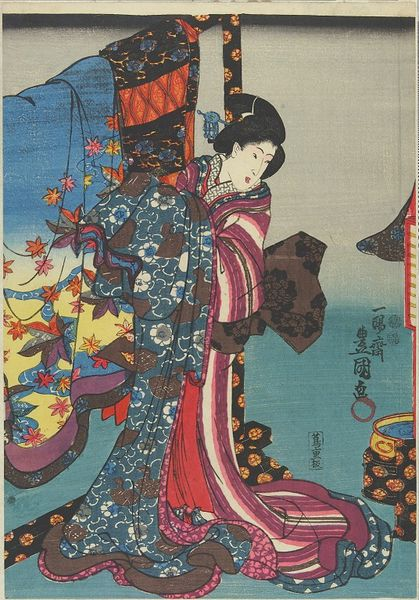 Utagawa Kunisada. Fashionable brocade patterns of the Imperial palace.