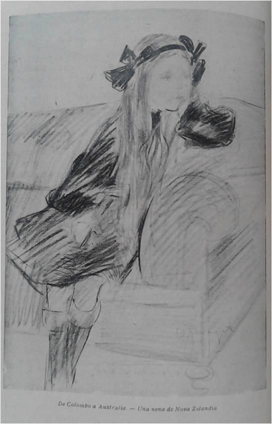 Retrato de una niña de Nueva Zelanda. Esbozo realizado durante la travesía bordeando Australia.
